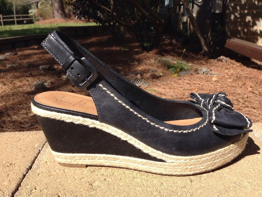 FRANCO SARTO cute Black Leather Peep M Toe OLYMPIA Wedges 9 M Peep 74a54c