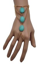 New Women Gold Bracelet Jewelry Metal Hand Chain Slave Ring Turquoise Blue Beads
