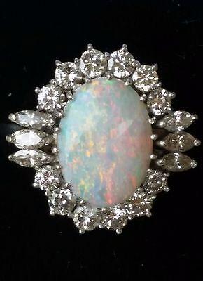 Vintage 18k White Gold Opal Diamond Ring Estate Jewelry Ladies Large Size 6.5