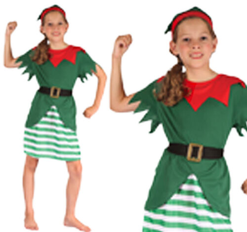Verde per Bambini Elf Costume Natale Vestito Bambine Bambini 3-10 anni