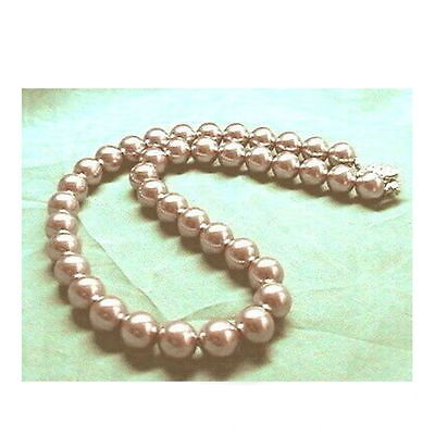 LAVENDER PINK Sea Shell Pearl Necklace Wedding Bridal Bridesmaids Prom 12mm 14mm