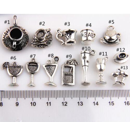 Lot 20//50//200Pcs Zinc Alloy Wine Glass Cup #7 Charms Pendants Beads 20x9mm