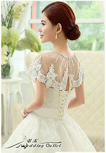 Bridal-luxury-wedding-lace-shrug-wrap-shawl-jacket-with-bead-one-size-white