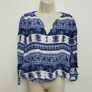 Lucy-Love-Womens-Top-Small-Blue-White-Floral-V-Neck-Long-Sleeve-USA