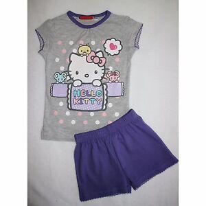 SANRIO-pyjama-HELLO-KITTY-2-3-ou-6-7-ans-pyjacourt-pyjashort-gris-violet-NEUF