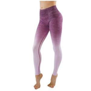 b8dd0e08be79f Ombre Flexible Yoga Fitness Active Gym High Waist Leggings(Berry ...