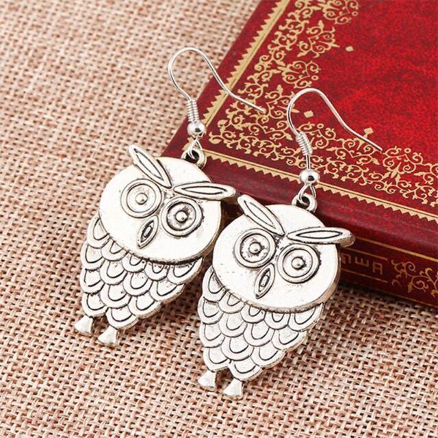 1 Pair Leisure Owl Pendant Earrings Hook Dangle Silver Ear Stud Jewelry CA