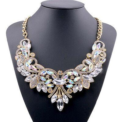 New Women Rhinestone Crystal Chunky Statement Bib Pendant Chain Choker Necklace