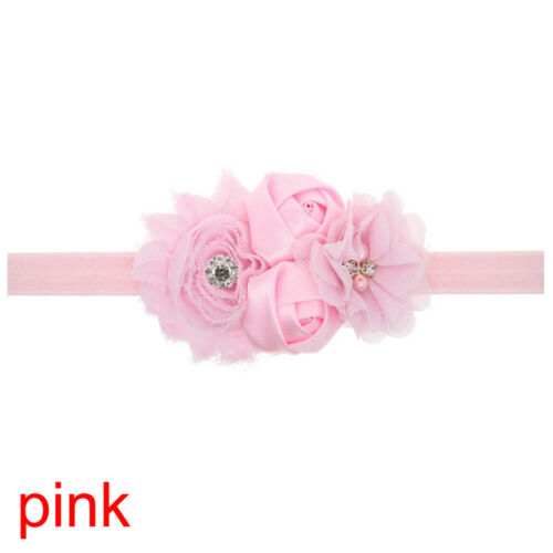 Baby Girl Chiffon Rose Flowers Lace Rhinestone Headband Hair Band Pearl