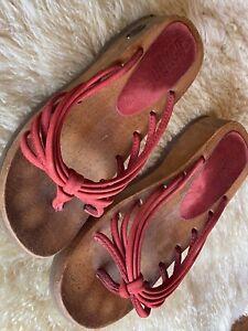 Bongo De Madera Vintage Para Mujer De Plataforma Con Tiras Sandalias Flip Flop Rojo 90s 00s Talla 9 Ebay