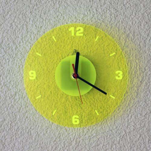 Farbauswahl Acrylglas Quarz Wanduhr 19cm Rund neon transparent fluoreszierend