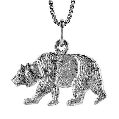 "Charm 18/"" Italian Box Chain Sterling Silver Bear Pendant"