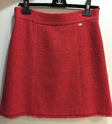 New Auth. Chanel Red Tweed Logo Fringe Mini Skirt.Sz.42
