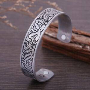 Celtic-Knot-Magnetic-Bracelet-Odin-039-s-Raven-Crow-Viking-Cuff-Bangle-for-Men