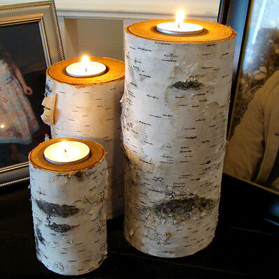 REAL BIRCH LOG TEA LIGHT CANDLE HOLDER SET OF 3 REAL BIRCH WOOD RUSTIC DECOR