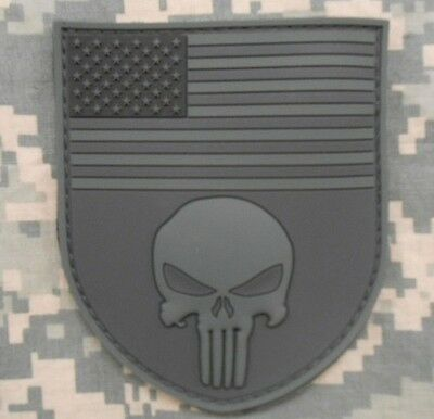 3D PVC RUBBER PUNISHER US FLAG SHIELD ACU DARK OPS VELCRO® BRAND FASTENER PATCH