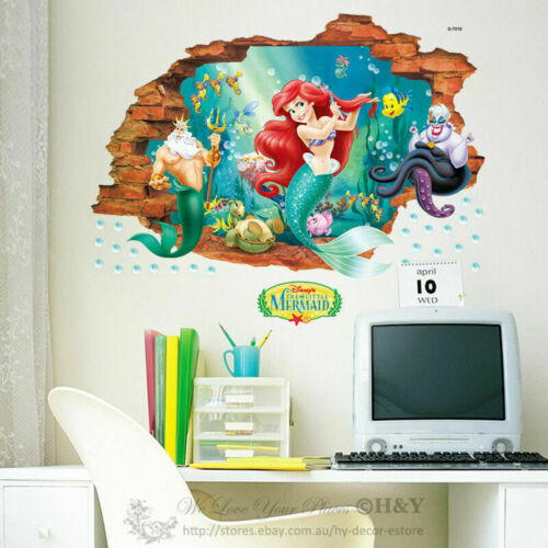 Mermaid 3D Window View Removable Wall Art Sticker Nursery Decal Home Decor Gift
