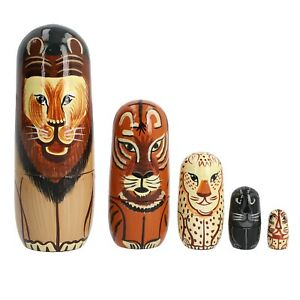 Home-Decor-Set-of-5-Hand-Painted-Wooden-Lion-Family-Nesting-Stacking-Dolls