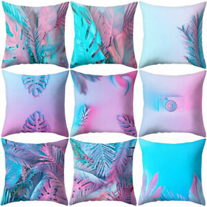 Am-Pink-Leaf-Plant-Square-Throw-Pillow-Protector-Case-Cushion-Cover-Decor-Novel