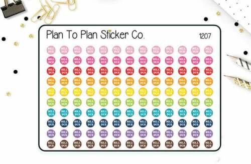 1207~~130 Bullet Journal BUJO Teeny Tiny Bill Due Planner Stickers.