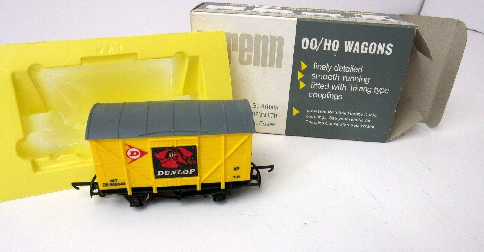 Wrenn Railways W5004 Ventilated Van DUNLOP DE545543 dark amarillo P4 box OO HO