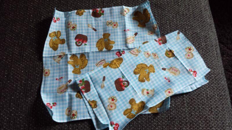 2 Stück Taschentücher 26 X 26cm Kinder 100% Baumwolle Blau - Weiß Teddy Korb Neu