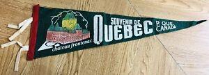 Vintage-Chateau-Frontenac-Quebec-City-Canada-Souvenir-Green-Pennant-20-034-x-7-034
