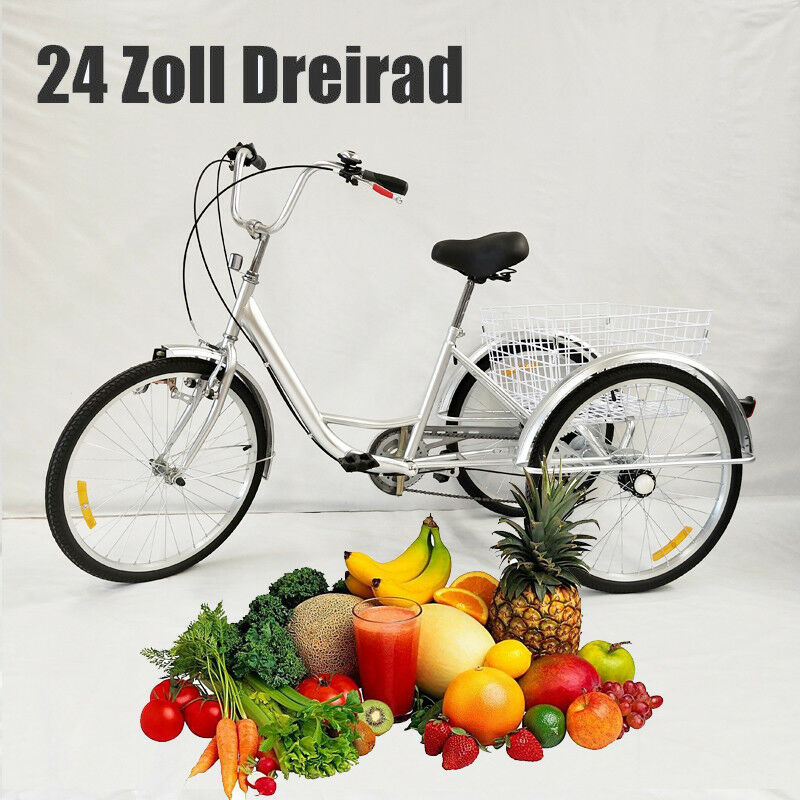 Neuf 24    6 vitesses adultes tricycle Adulte Tricycle 3 Roues Vélo +panier DHL EU cf95ab