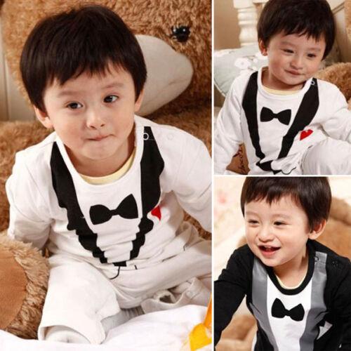 OneSet Wedding Baby Boys Tuxedo Bow Tie Formal Suit Party Cotton Romper Jumpsuit