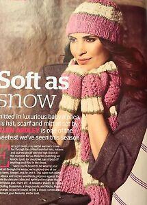 46724159704 KNITTING PATTERN Ladies Lace Hat Mittens   Scarf Set Striped Rowan ...