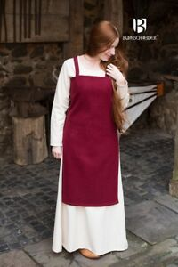 Moyen-age-Robe-a-Bretelles-Salopette-Viking-Laine-Rouge-de-Burgschneider