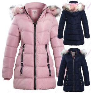 Girls Fleece Lined Padded Parka Coat Faux Fur Jacket Age 3 4 7 8 9 10 11 12 13   eBay
