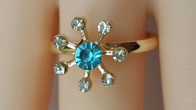 LADIES WOMEN GIRLS ADJUSTABLE SNOWFLAKE CRYSTAL RING DIFFERENT COLOUR