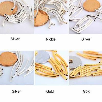 100pcs Silver/Gold/Nickel Copper Smooth Curved Tube Spacer Beads New