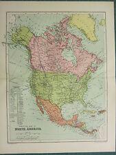 1904 Antiguo Mapa ~ América del Norte Política ~ Estados Unidos México Canadá Alaska