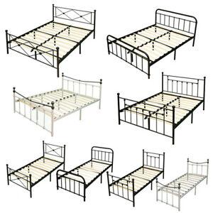 Single//Double Bed Black White Metal Frame 3F//4FT//4FT6 Modern Bedroom Furniture
