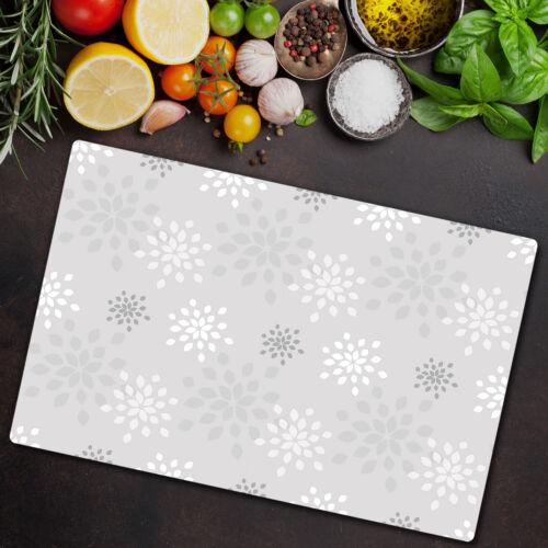 Glas-Herdabdeckplatte Ceranfeldabdeckung 80x52 Graue geometrische Blumen