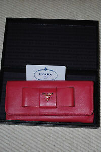 4cd6079f5a13 PRADA ribbon motif two-fold wallet SAFFIANO FIOCCO Safiano PEONIA ...