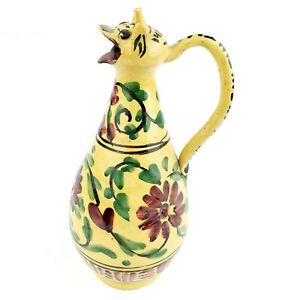 Vintage-Middle-East-North-African-Hand-Painted-Glazed-Ceramic-Pottery-Pitcher