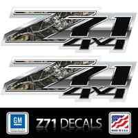 (2) Z71 4x4 Camo, Die Cut Decals Stickers, 3m Vinyl, Chrome Look, Chevy Truckbed
