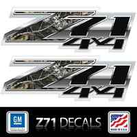 (2) Z71 4x4 Camo, Die Cut Decals Stickers, 3m Vinyl, Chrome Look, Chevy Truckbed
