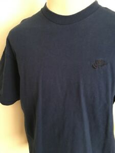 86adfc4a VTG 90s ~ NIKE EMBROIDERED LOGO TEE ~ Navy Blue ~ Made in USA ~ XL ...
