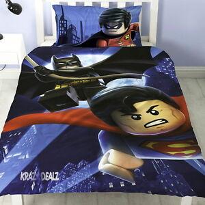 Lego-Batman-Superman-Battle-Single-Panel-Duvet-Cover-Bed-Set-2-in-1-Reversible
