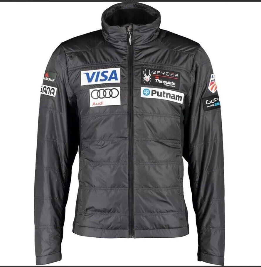 Spyder grau Padded Motorsports Ski Jacket US Ski Team Branded Motifs Größe M New