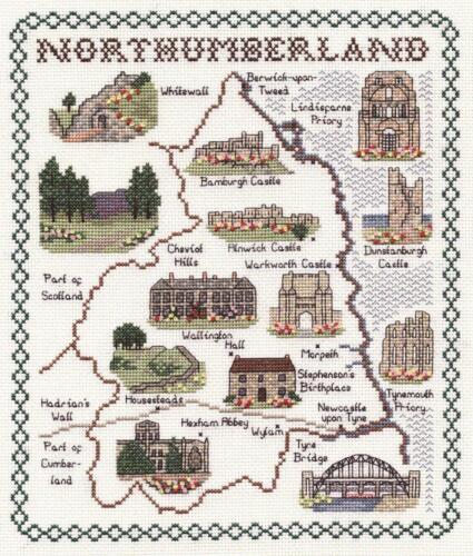 Mapa /& monumentos de Northumberland-Clásico 14ct puntada cruzada contada Kit