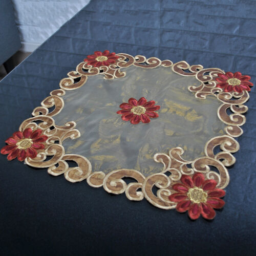 Brown Embroidered Tablecloth Vintage Flower Lace Table Cloth Runner Mats Wedding