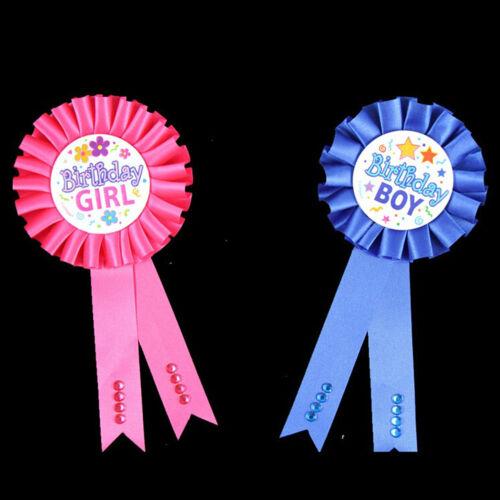 Birthday Girl Boy Award Ribbon Rosette Badge Pin Children/'s Party Favors BH