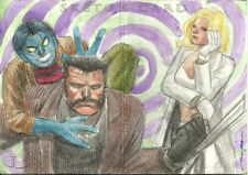 Upper Deck Marvel Premier 3 Panel Booklet Sketch Frost Wolverine + by Butch Mapa