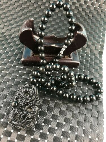 Chinese natural Bian Stone Care Radiation  Bead Necklace Dragon Pendant N12