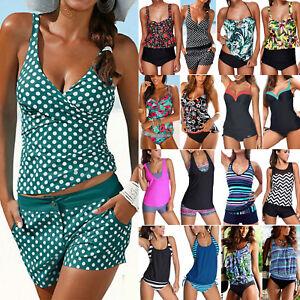 Womens-Push-Up-Padded-Tankini-Set-Boy-Shorts-Swimwear-Swimsuit-Bathing-Beachwear